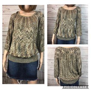 INC Brown Multi w/ Metallic Sweater OX #0492